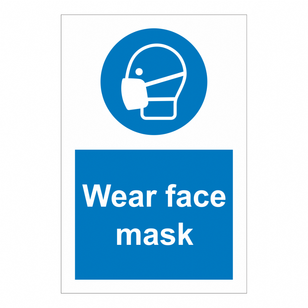 Wear Face Mask Sign Safety Clothing Ppe Signs Bath